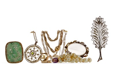 Lot 1416 - COLLECTION OF SILVER AND COSTUME JEWELLERY