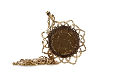 Lot 11 - A HALF SOVEREIGN DATED 1899 MOUNTED IN A PENDANT