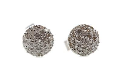 Lot 1430 - A PAIR OF DIAMOND CLUSTER EARRINGS