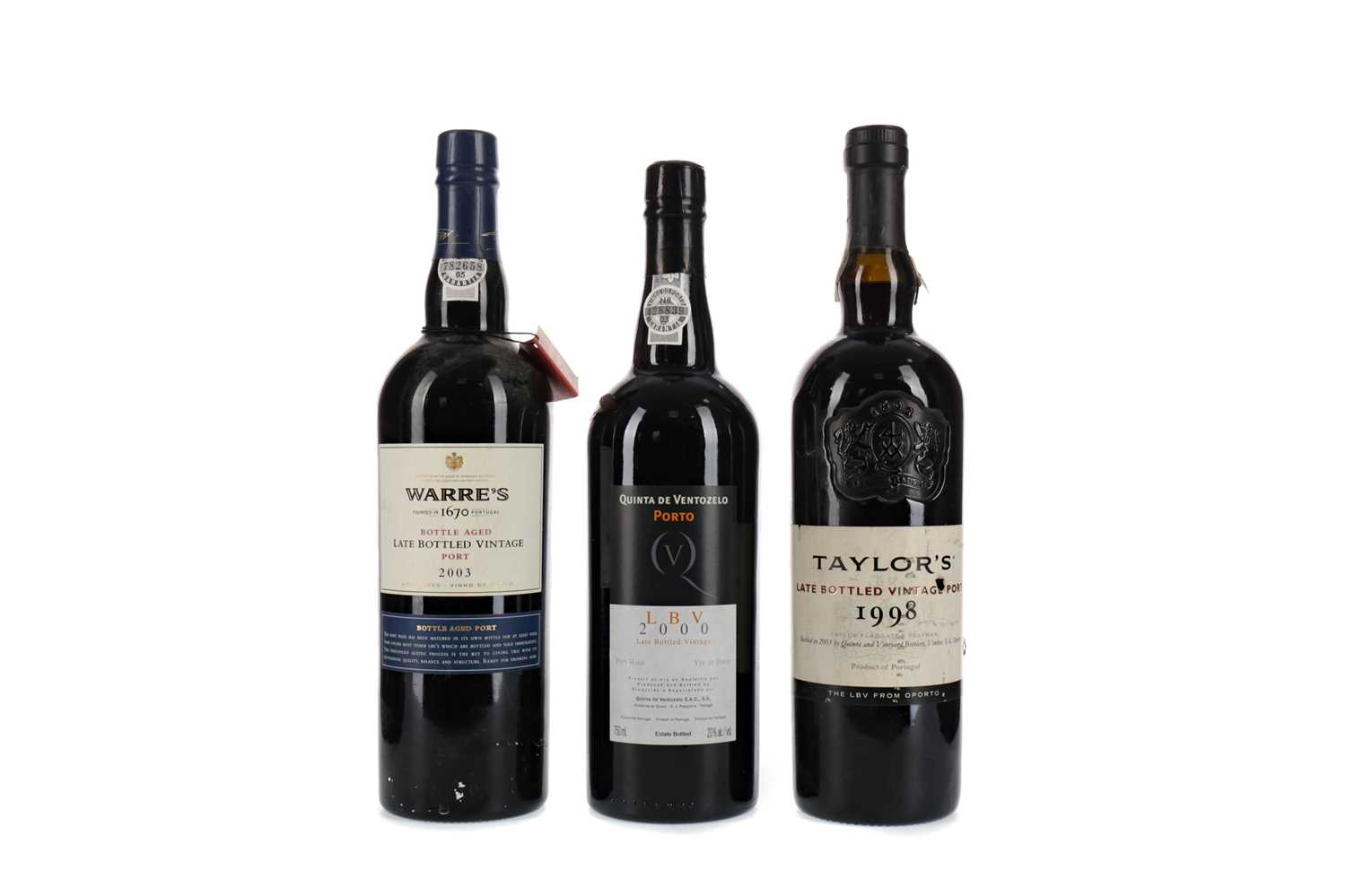 Lot 28 - WARRE'S, TAYLOR'S AND QUINTA DE VENTOZELO LATE BOTTLED VINTAGE PORTS