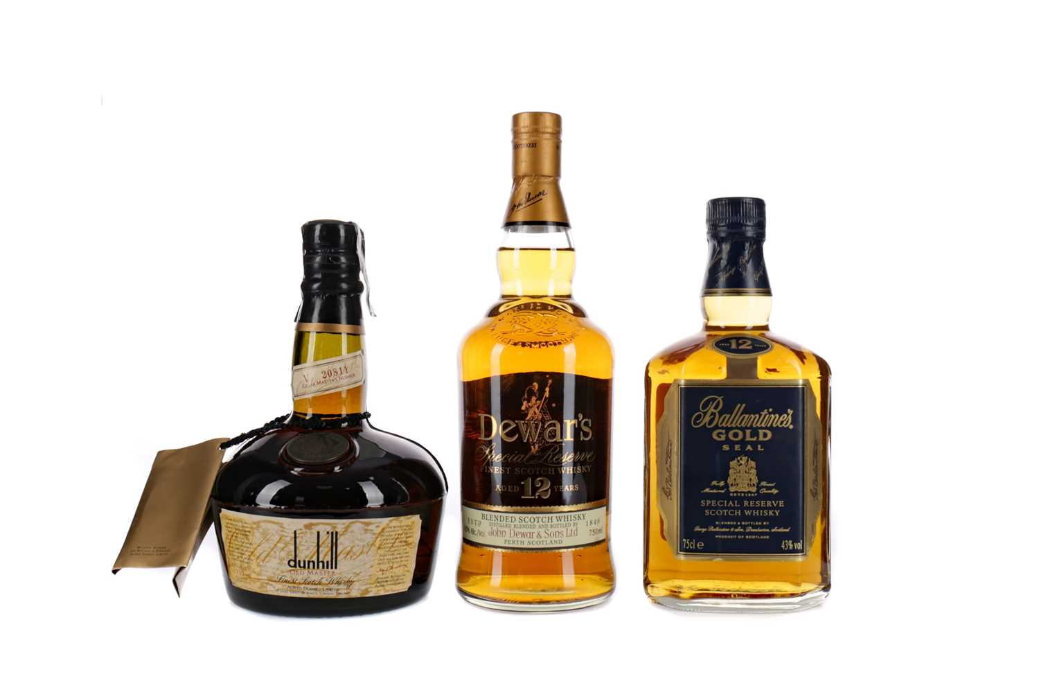 Lot 30 - DUNHILL OLD MASTER, DEWAR'S AGED 12 YEARS AND BALLANTINE'S GOLD SEAL AGED 12 YEARS