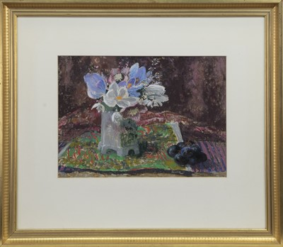 Lot 555 - STILL LIFE WITH SPRING FLOWERS, A PASTEL BY MARY ARMOUR