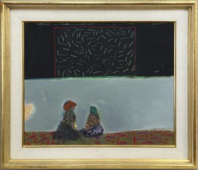 Lot 549 - PORTUGUESE WOMEN ON THE BEACH AT NAZARÉ, AN OIL BY ELIZABETH BLACKADDER