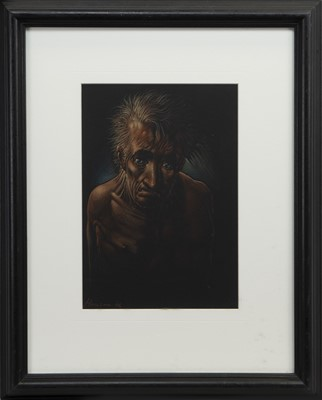 Lot 595 - AN UNTITLED PASTEL BY PETER HOWSON