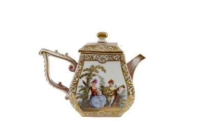 Lot 1098 - A LATE 19TH CENTURY CONTINENTAL PORCELAIN MINIATURE TEAPOT AND COVER