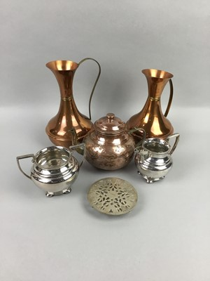 Lot 14 - A LOT OF BRASS, COPPER AND SILVER PLATED WARE