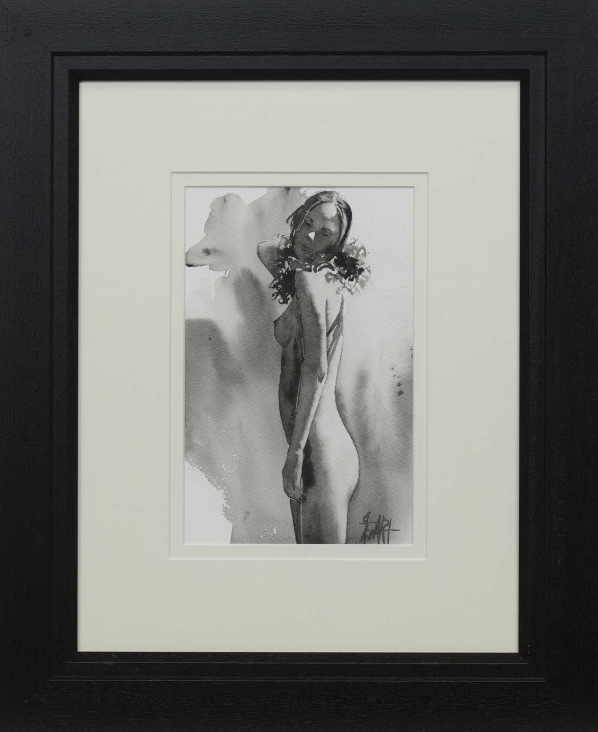 Lot 504 - NUDE STUDY, A WATERCOLOUR BY LEE STEWART