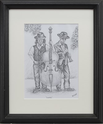 Lot 622 - PLAYERS, A PENCIL SKETCH BY GRAHAM MCKEAN