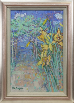 Lot 619 - DAFFODIL LANE TO THE SEA, AN OIL BY DONALD MANSON