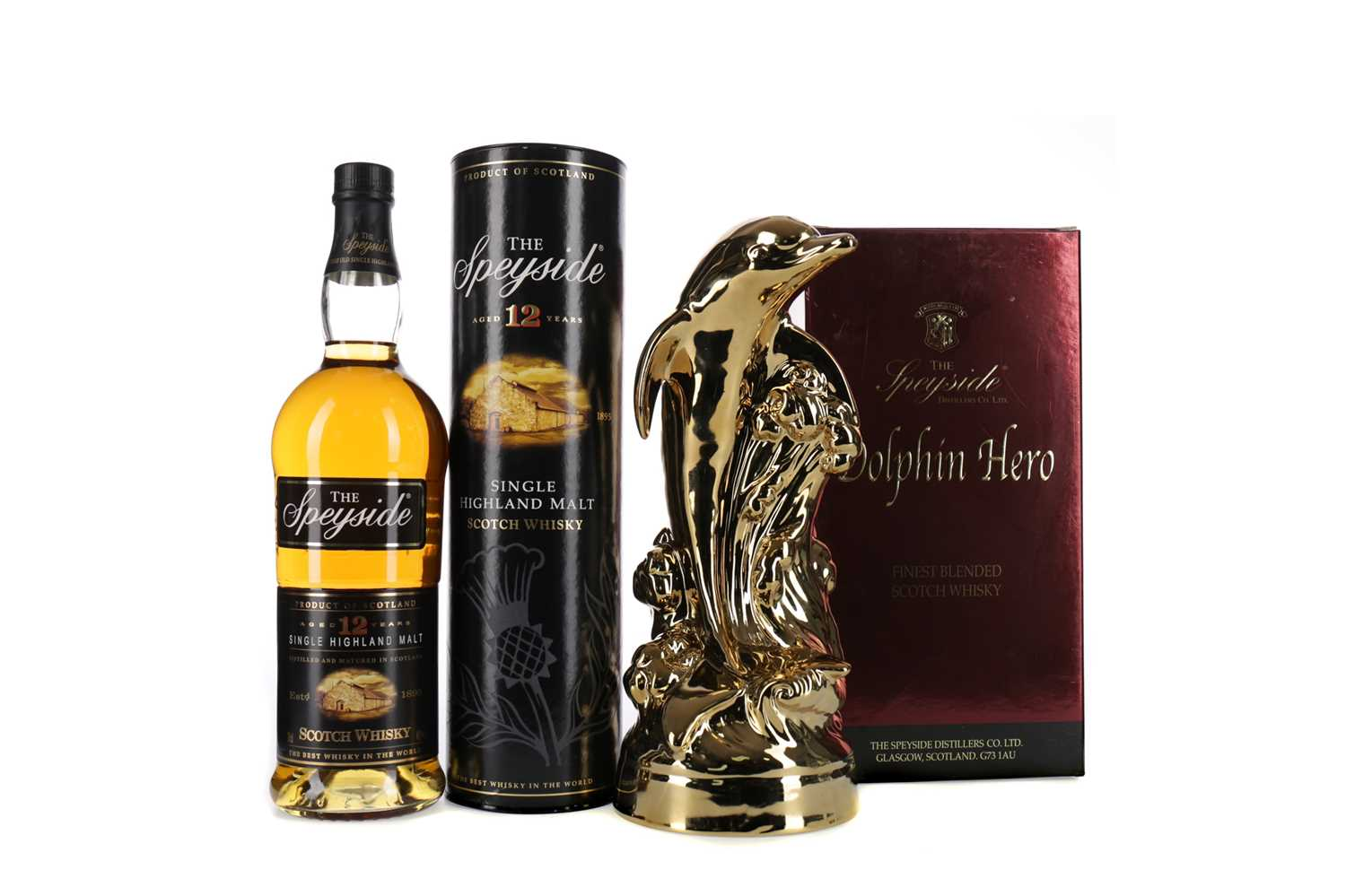 Lot 47 - THE SPEYSIDE DOLPHIN HERO BLEND AND SPEYSIDE AGED 12 YEARS