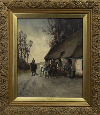 Lot 67 - AT THE SMITHY, AN OIL BY TOMSON LAING