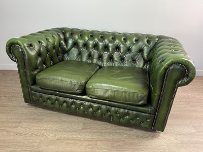 Lot 1310 - A GREEN LEATHER CHESTERFIELD SUITE