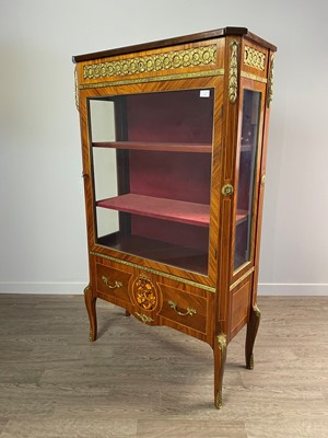 Lot 1307 - A FRENCH KINGWOOD AND FLORAL MARQUETRY DISPLAY CABINET