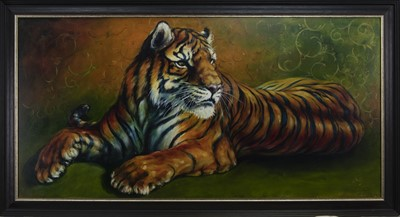 Lot 611 - GOLDEN SIBERIAN TIGER, AN OIL BY LESLEY MCKENZIE