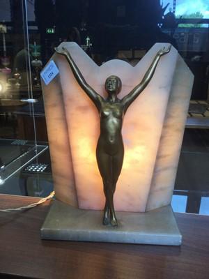 Lot 1314 - AN ART DECO FIGURAL TABLE LAMP