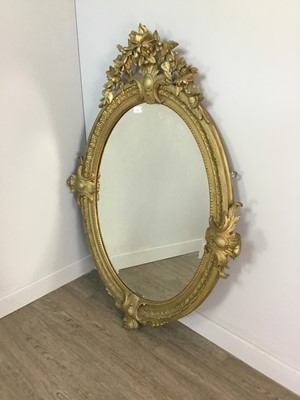 Lot 1318 - A LATE 19TH CENTURY GILT WOOD WALL MIRROR