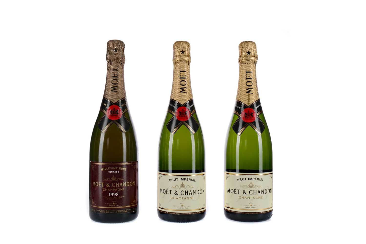 Lot 89 - ONE MOET 1998 MILLESIME ROSE AND TWO BRUT IMPERIAL