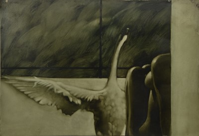 Lot 617 - UNTITLED (LEDA AND THE SWAN), AN OIL BY NEIL DALLAS BROWN