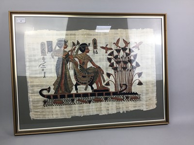 Lot 68 - A LOT OF TWO EGYPTIAN PAINTINGS ON PAPYRUS, ALONG WITH A CHINESE PAINTING