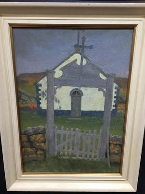 Lot 68 - OLD CHURCH, REYNIHLID, ICELAND, AN OIL BY ROBERT SAWYERS