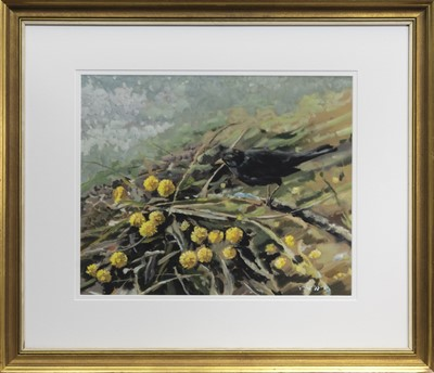 Lot 71 - THE BLACKBIRD, A MIXED MEDIA BY GUSTAF HERBERT CARLSSON
