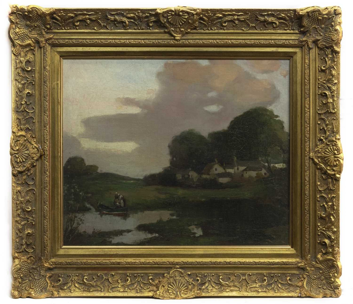 Lot 70 - LANDSCAPE, CONTINENTAL CANAL SCENE, AN OIL BY THOMAS BONAR LYON