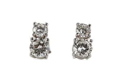 Lot 339 - A PAIR OF DOUBLE DIAMOND STUD EARRINGS