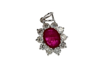 Lot 361 - A CERTIFICATED RUBY AND DIAMOND PENDANT