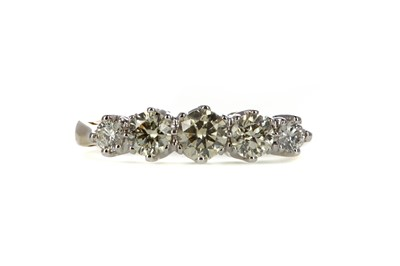 Lot 367 - CERTIFICATED DIAMOND FIVE STONE RING