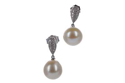 Lot 487 - A PAIR OF PEARL AND DIAMOND EARRINGS