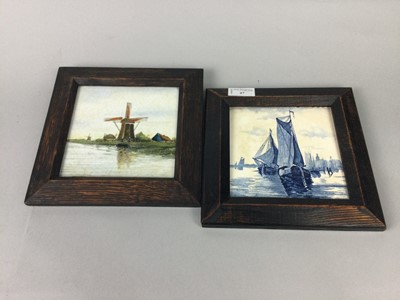 Lot 47 - A FRAMED DELFT STYLE BLUE AND WHITE TILE ALONG WITH ANOTHER
