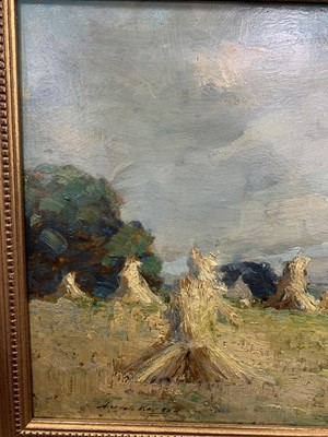 Lot 74 - HAYSTACKS, AN OIL BY ARCHIBALD KAY