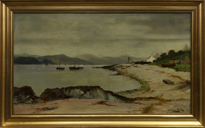 Lot 76 - SHORE OF THE LOCH, AN OIL BY ANDREW HISLOP