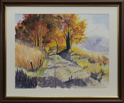 Lot 88 - AUTUMN TRAIL, A WATERCOLOUR BY JAMES FORRESTER