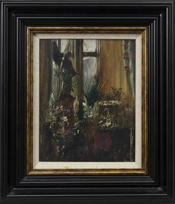Lot 83 - GLASGOW INTERIOR WITH ANGEL SCULPTURE, A SCOTTISH OIL
