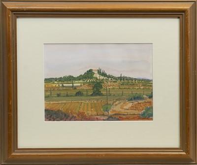 Lot 84 - CATALONIAN LANDSCAPE, A GOUACHE BY BOB CARGILL
