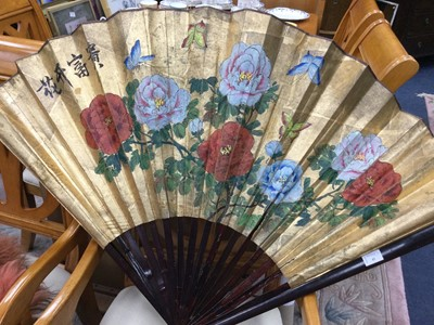 Lot 41 - A LARGE MID-20TH CENTURY CHINESE PAINTED FAN
