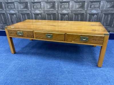 Lot 40 - A YEW WOOD COFFEE TABLE AND ANOTHER UNIT