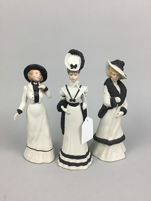 Lot 84 - A SET OF THREE HYDE PARK COLLECTION WEDGWOOD FIGURES AND OTHER OBJECTS