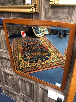 Lot 74 - A RETRO TEAK FRAMED WALL MIRROR AND ANOTHER MIRROR