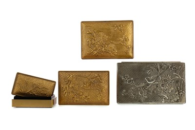Lot 729 - A 20TH CENTURY SET OF THREE JAPANESE GILT LACQUERED BOXES AND A WHITE METAL BOX