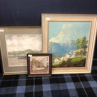 Lot 38 - A LOT OF TWO WATERCOLOURS AND AN OIL PAINTING