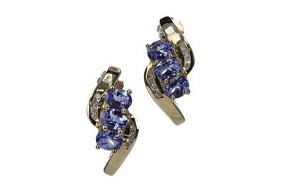 Lot 383 - A PAIR OF TANZANITE AND DIAMOND EARRINGS