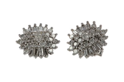 Lot 462 - A PAIR OF DIAMOND CLUSTER EARRINGS