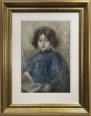 Lot 85 - HALF-LENGTH PORTRAIT OF A YOUNG GIRL, A WATERCOLOUR BY HANNAH CLARKE PRESTON MACGOUN