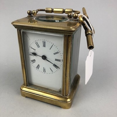 Lot 1 - AN EARLY 20TH CENTURY BRASS CARRIAGE CLOCK