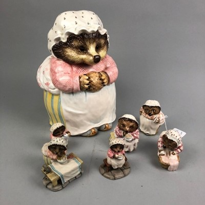 Lot 13 - AN ENESCO BEATRIX POTTER BISCUIT JAR AND OTHER FIGURES