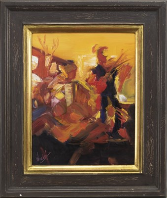 Lot 630A - DANCING ON THE TABLES, GLENFINNAN (STUDY), AN OIL BY GAIL WENDORF