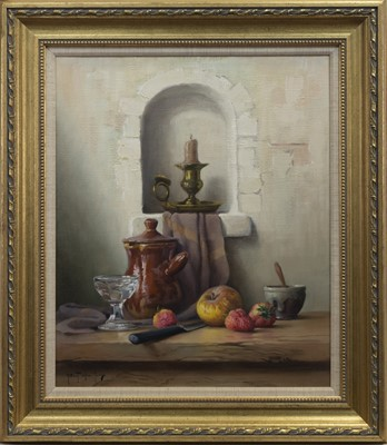 Lot 95 - STILL LIFE WITH NICHE, AN OIL BY ROBERT CHAILLOUX