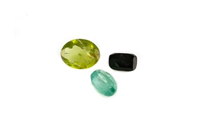 Lot 411 - THREE CERTIFICATED UNMOUNTED GEMS